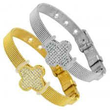 Stainless Steel Mesh Bracelet With Clover Charm