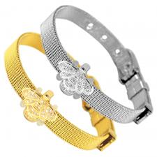 Stainless Steel Mesh Bracelet With Bumblebee Charm