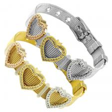 Stainless Steel Mesh Bracelet With Heart Charms