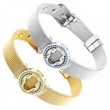 Stainless Steel Mesh Bracelet With Hamsa Charm