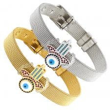 Stainless Steel Mesh Bracelet With Hamsa and Evil Eye Charm