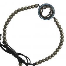 Base Metal Black Hamsa with CZ Bracelet