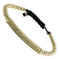 Gold Stainless Steel Beaded CZ Bar Bracelet
