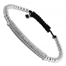Stainless Steel Beaded CZ Bar Bracelet