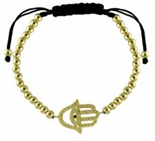 Fashion Adjustable Gold Beads Bracelet W/ Hamsa