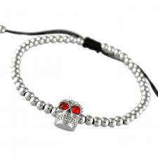 Stainless Steel Macram� Drawstring Bracelet with Jeweled Skull