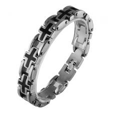 Stainless Steel Link Bracelet with Black PVD Cross Design
