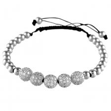 Stainless Steel Macramé Bracelet with Micro Pave Beads