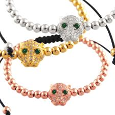 Macramé Bracelet with Micro Pave Jeweled Cat's Head