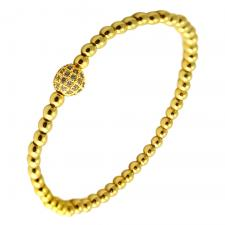 Gold Color Stretch Bracelet with Micropave Charm