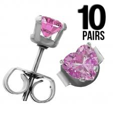 Wholesale 10 Pink Heart CZ Ear Studs with Stainless Steel Post