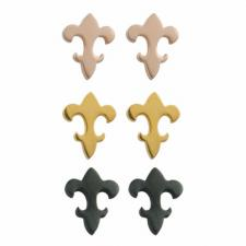 Fleur de Lis Stainless Steel Earrings with PVD