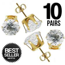 10 pairs of Clear Round Studs in Gold PVD Stainless Steel
