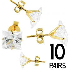Stainless Steel GOLD PVD Stud Earrings with Clear Square CZ Stone