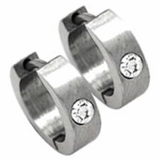 Stainless Steel Hoop Earrings MATTE w/CZ