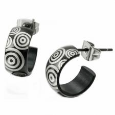 Stainless Steel and Black PVD Hoop Earrings
