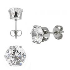 Stainless Steel Round CZ Ear Stud