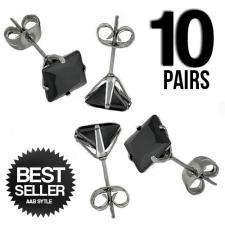 Wholesale 10 Stainless Steel Black CZ Ear Stud