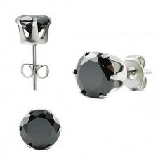 Stainless Steel Black CZ Ear Stud