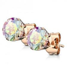 Stainless Steel Rose Gold CZ Stud Earrings