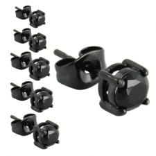 Stainless Steel Round Black CZ Stud Earrings
