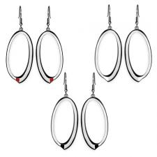 Oval Stainless Steel Earrings With Optional Enamel Accent