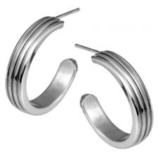 Stainless Steel Earrings With Corrugated Design