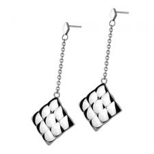 Stainless Steel Drop Down Earring With Textured Diamond Pattern