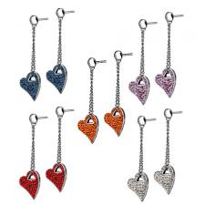 Stainless Steel Drop Down Heart Earring With Foiled CZ Stones