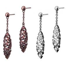 Stainless Steel Oblong Shaped Earrings With Cut Out Design