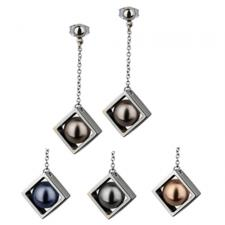 Stainless Steel Earring With Ornamental Dangling Pearls inside Frames