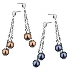 Stainless Steel Earring with Ornamental Dangling Pearls