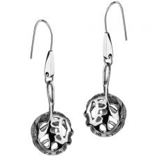 Stainless Steel Ball Earrings with Cut Out Design