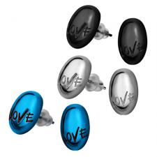 Stainless Steel Oval Stud Earring With Love Inscription