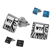 Stainless Steel Earring Studs Inscribed With Commonly Used Internet Acronyms