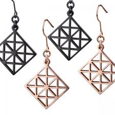 Women's, Black and Rose Gold, Earrings, geometric Pattern.