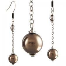 Stainless steel and brown pearl earrings
