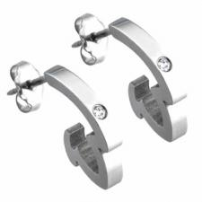 Pair jeweled stainless steel earrings - Curves with stone