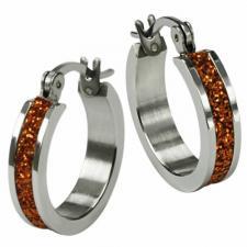 Stainless Steel Hoop Earrings With Glitter Center -- 4mm wide