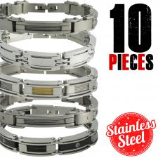 Stainless Steel Bracelets  5 Styles x 2 Each x 10 Pieces  Please Note, This Package Is Pre-Packaged According To Style Availability!