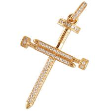 Gold Color Micro Pave Screw Cross Pendant