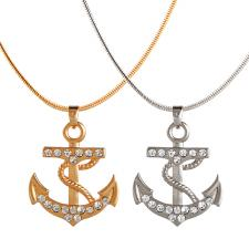 Fashion Rhinestone Encrusted Anchor Pendant with Snake Necklace