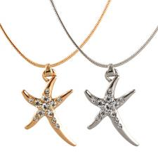 Fashion Jeweled Starfish Pendant with Snake Link Necklace