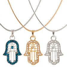 Fashion Necklace with Rhinestone Encrusted Hamsa Pendant