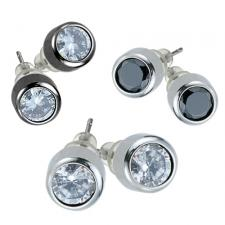 Stainless Steel Bezel Set Earrings With CZ Stone
