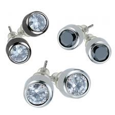 Stainless Steel Bezel Set Earrings With CZ Stone