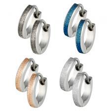 Stainless Steel Earrings With Sandblast Texture