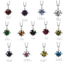 Stainless Steel Pendant With Prong Set Birthstone CZ
