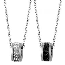 Dazzling Stainless Steel Barrel Pendant With CZ Stones