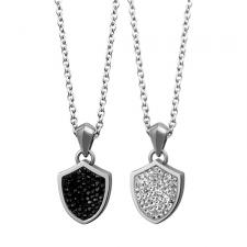 Stainless Steel Sheild Pendant With CZ Stones